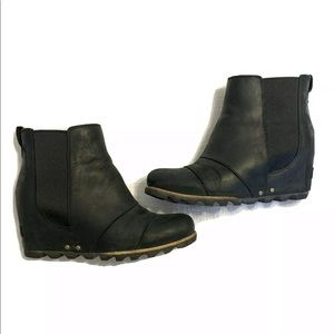 SOREL Joan Of Arctic Black wedge Chelsea Boots 8.5